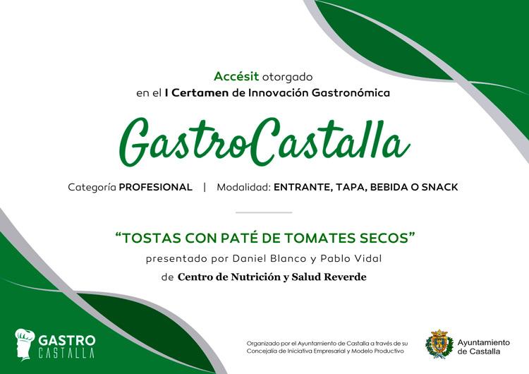 Diploma Gastro Castalla - Accésit Entrantes Tostas con Paté Ibérico