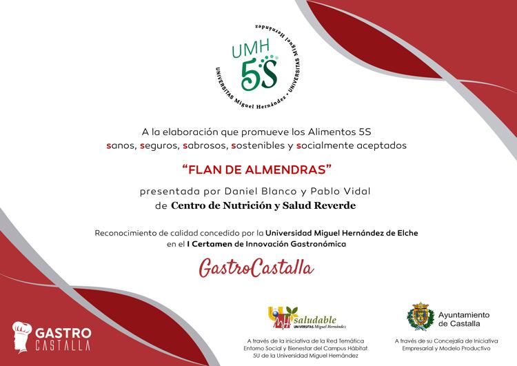 Sello 5 S al postre Flan de Almendras en Gastro Castalla