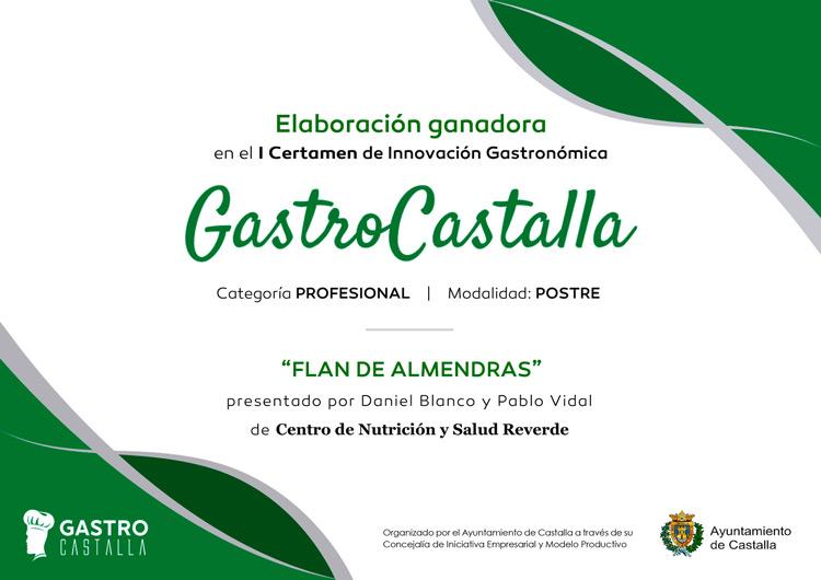Diploma Gastro Castalla - Primer premio postres Flan de almendras
