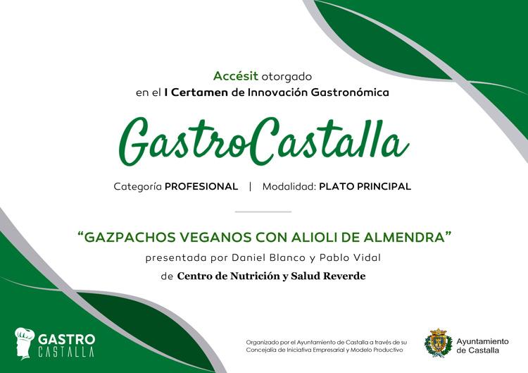 Diploma Gastro Castalla - Accésit Principal Gazpachos Veganos